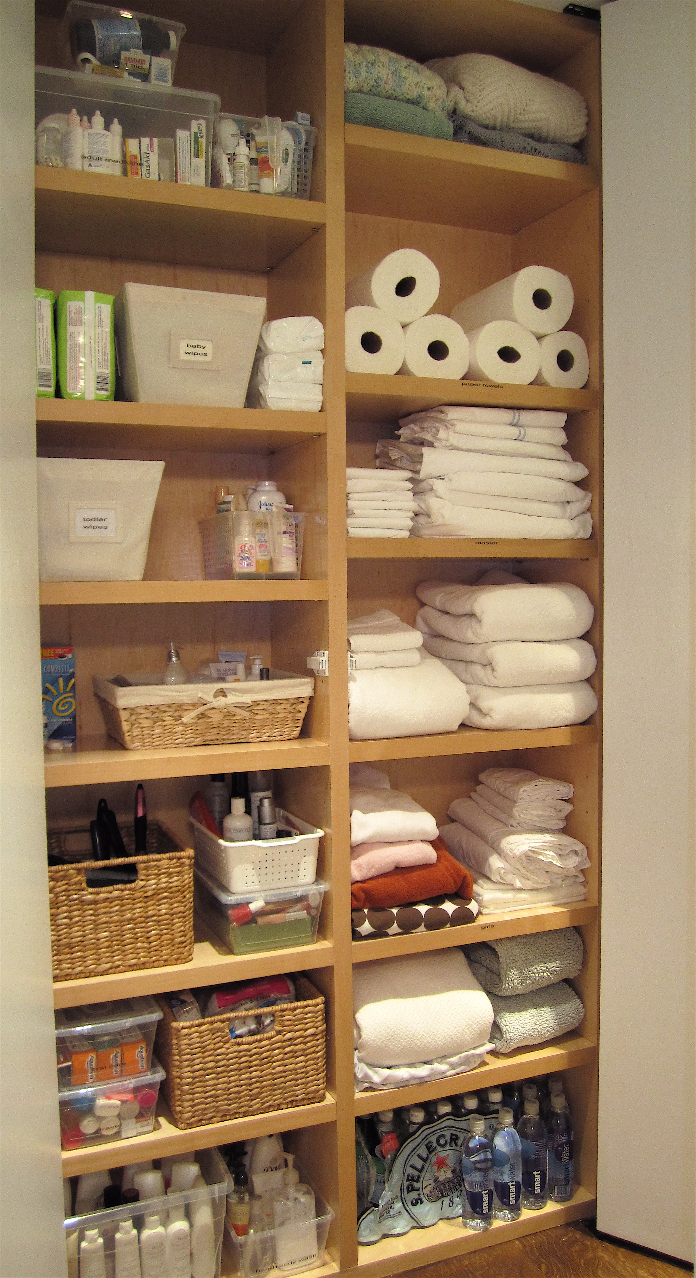 Intelligent, not too deep linen closets, via The Order Obsessed