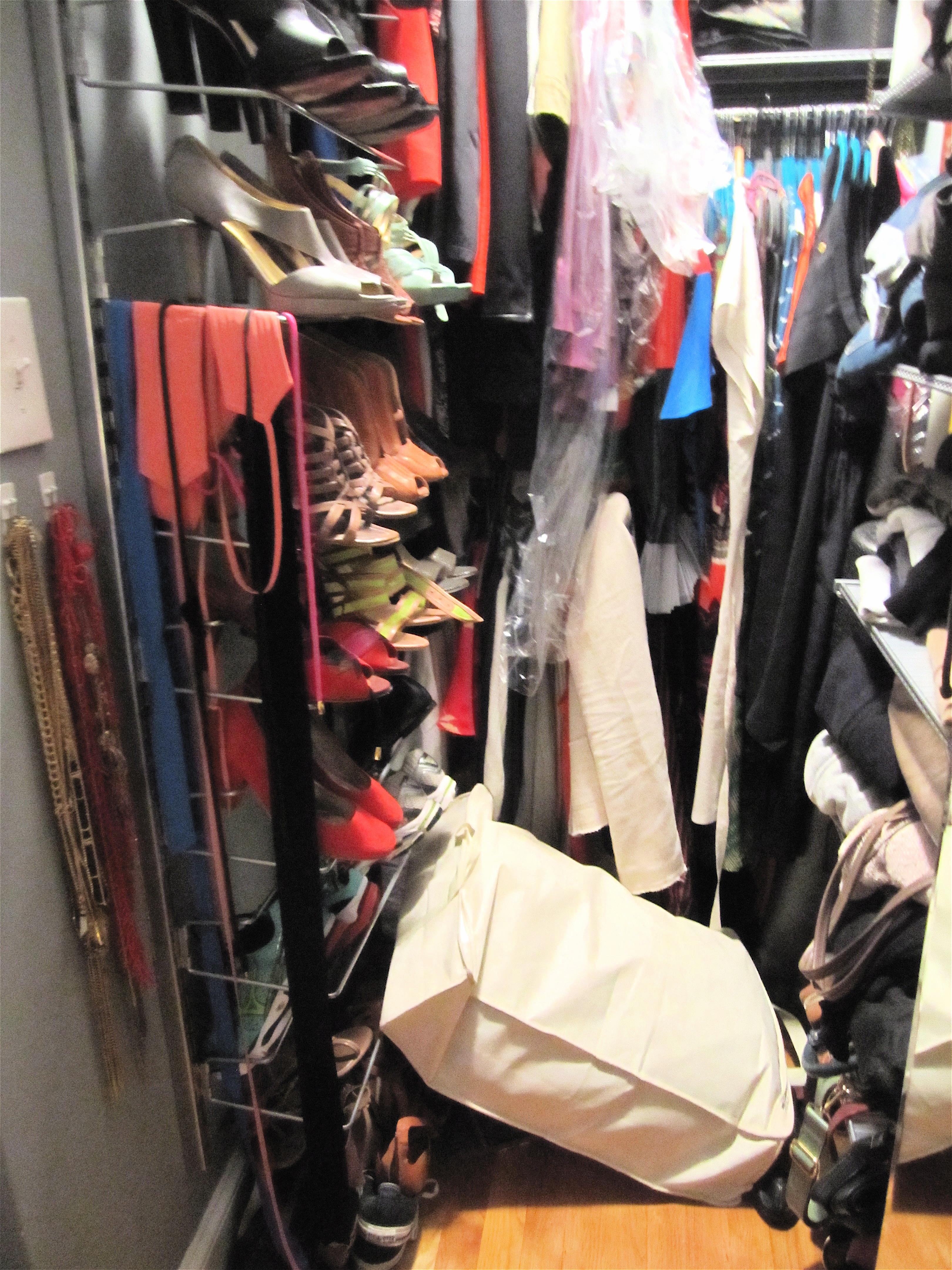 shoe cabinet elfa closet before after. Black Bedroom Furniture Sets. Home Design Ideas